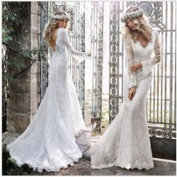 robe de mariée sirène bohème toute en dentelle