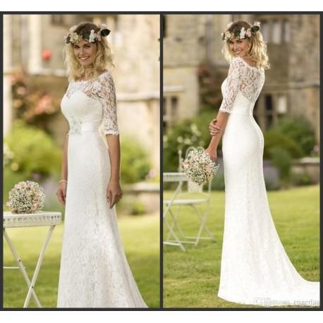 robe de mariée bohème toute en dentelle manches