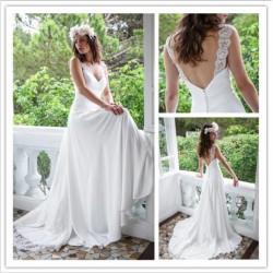 Robe de mariée bohème traine en dentelle