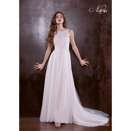robe de mariée bohème avec bandes dendetelle