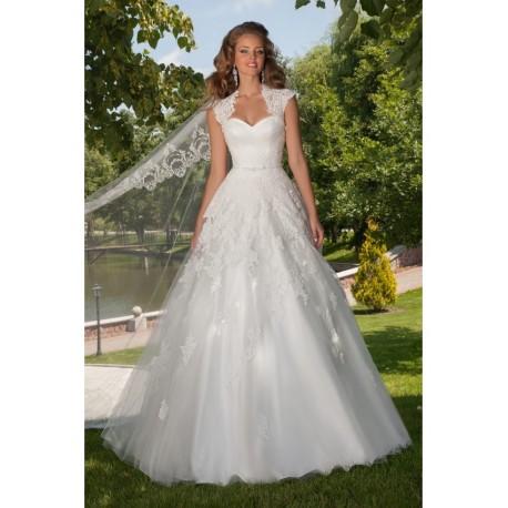 Robe de mariée princesse bretelles larges en dentelle