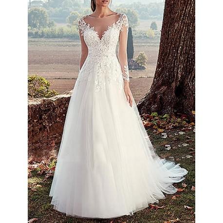 Robe de mariée manches longues en tulle
