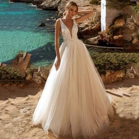 Robe de mariée princesse décolleté à la taille