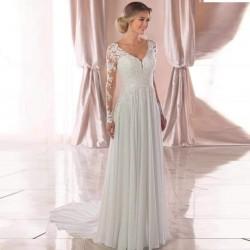 Robe de mariée bohème manches longues en dentelle