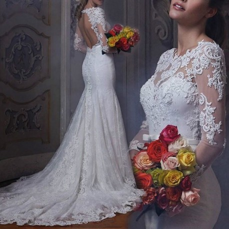 robe de mariée sirène manches longues et dos ouvert