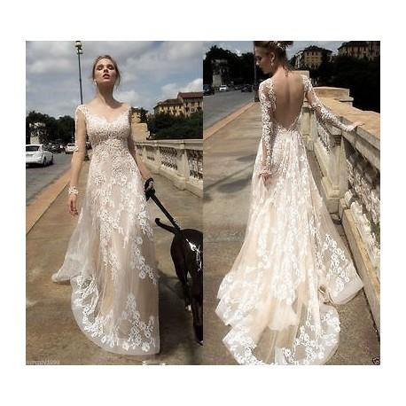 robe de mariée bohème dos nu manches longues