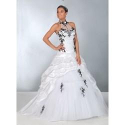 Robe de mariée princesse noire et blanche