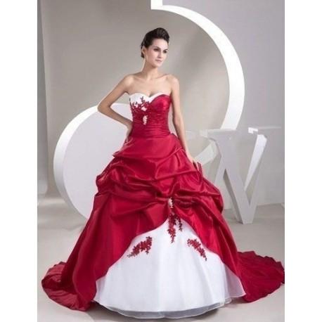 Robe De Mariee Princesse Rouge Et Blanche