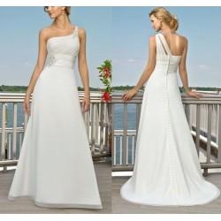 Robe de mariée fluide one shoulder