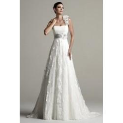 robe de mariée empire en dentelle avec 1 bretelle